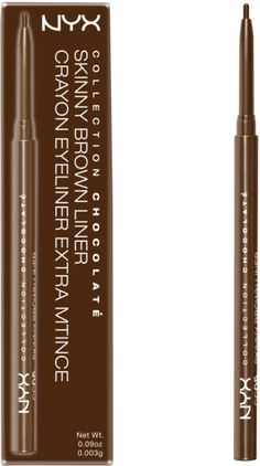 Nyx Cosmetics Collection Chocolate Skinny Brown Liner Ulta.com -5.99 Let your eyes take the cake with NYX Cosmetic's Collection Chocolate! The collection carries different formulations of lustrous eyeliners, from matte, satin, glossy pencils to liquid eyeliners. Wrap your eyes with one or all of these smudge-free formula liners. The collection offers various types of eyeliners that applies smooth and effortlessly for lasting and dramatic wear.