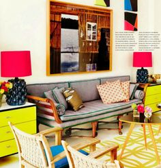 Hot pink lampshades, sure! Kelly Green welt cord, yes please! Lots of great inspiration on how to add color to a space.