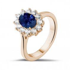 Juwelen met robijn, saffier en smaragd - Entourage ring in rood goud met ovale saffier en ronde diamanten