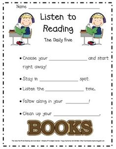 FREE Daily Five posters and anchor charts