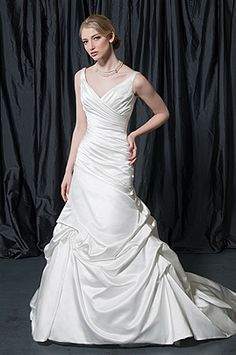 Sexy White Mermaid/Trumpet V-neck Chapel Train Garden/Outdoor Wedding Dress Chapel Wedding Dresses, Ruched Wedding Dress, Outdoor Wedding Dress, V Neck Wedding Dress, Wedding Bridesmaid Dresses, Bridal Dresses, One Shoulder Wedding Dress, Wedding Gowns, Bridal Gown Styles