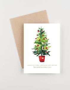 Christmas Watercolor Christmas Tree, Holiday 2015 Christmas and New Years Greetings Card by seahorsebendpress on Etsy Funny Christmas Tree, Christmas Art, Christmas Humor, Winter Christmas, Christmas Decorations, Christmas Fitness, Christmas Images, Homemade Christmas, Christmas And New Year
