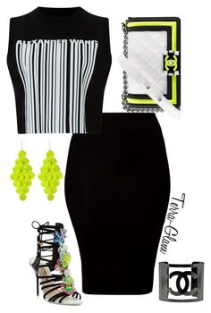 """""""Neon & Wang"""" by terra-glam ❤ liked on Polyvore featuring American Apparel, Alexander Wang, Chanel, Sophia Webster and Amrita Singh"""