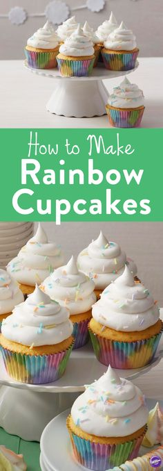 how to Make Rainbow Cupcakes - Topped with fluffy icing and deliciously colorful homemade sprinkles, decorating cupcakes is super easy with these Light and Fluffy Rainbow Cupcakes. These colorful cupcakes are great for birthday parties, weddings or any colorful occasion. Perfect for unicorn themed parties, too!