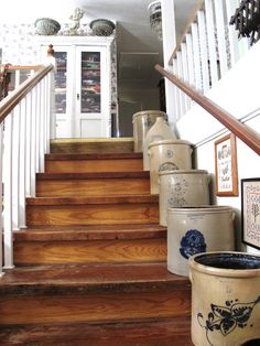 Curious Details // collection of crocks! Love this can use old crocks as planters outside to sit on stairs line walk way Antique Crocks, Old Crocks, Antique Stoneware, Stoneware Crocks, Primitive Antiques, Prim Decor, Country Decor, Farmhouse Decor, Primitive Decorations