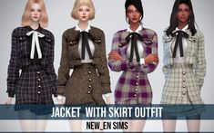 [Newen] Jacket With Skirt_Outfit - The Sims 4 The Sims 4 Pc, Sims 4 Teen, Sims 4 Toddler, Sims 4 Cas, Sims Cc, Sims Baby, Sims 4 Game Mods, Sims Mods, Sims 4 Couple Poses