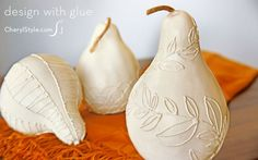 Quick glue-decorated gourds centerpiece -- gourds, our printable and @adtechadhesives hot glue create these one of a kind centerpieces! - CherylStyle