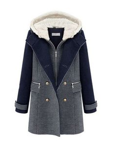 Fashion Woolen Double Breasted Slim Coat Deep Blue
