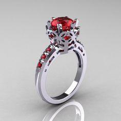 Classic Armenian 950 Platinum 1.5 Carat Rubies Crown Engagement Ring AR128-PLATRR