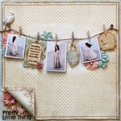 Lovely Distressed Page...with jute 'clothesline' & mini clothespins...to hang the pictures from...