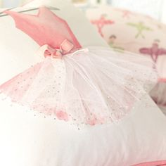 Maggie Ballerina Attire Hand-Painted Decorative Pillow from PoshTots #PoshTotsNursery