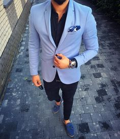 classy mens fashion which look cool 438828 Blue Blazer Outfit Men, Blazer Outfits Men, Mens Fashion Blazer, Stylish Mens Outfits, Suit Fashion, Formal Men Outfit, Style Masculin, Designer Suits For Men, Indian Men Fashion