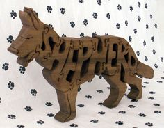 Makes a perfect gift for the dog loving person in your life! Hand scroll sawn of 3/4 inch thick poplar wood. This is an actual, functional puzzle,