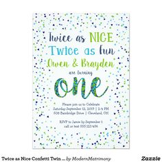 Shop Twice as Nice Confetti Twin Boys First Birthday Invitation created by ModernMatrimony. Personalize it with photos & text or purchase as is! Twin Birthday Themes, Boys First Birthday Party Ideas, Twin Birthday Parties, One Year Birthday, Twin First Birthday, Birthday Boys, Fall Birthday, Twin Boys Birthdays, First Birthdays