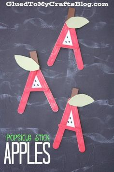 Preschool crafts Popsicle Sticks - A is for Apple Popsicle Stick Kid Craft September Preschool, September Crafts, Fall Preschool, Preschool Projects, Daycare Crafts, Classroom Crafts, Apple Preschool Crafts, Apple Crafts For Preschoolers, October