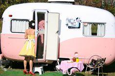 Pink and White Retro Caravan. For Season.