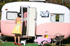 Pink and White Retro Caravan