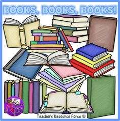 Books clip art in a hand rendered crayon effect! Book Clip Art, Clip Art Library, School Resources, Teacher Resources, Read Aloud Books, Open Book, Secondary School, Hugs, Teaching