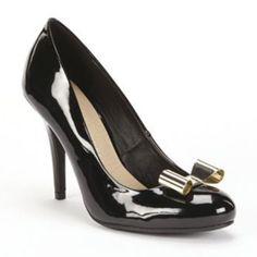 Sale!Lauren Conrad Gold Bow Black Heels