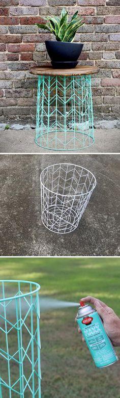 DIY Wire Basket Side Table.