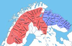 Sami community areas/villages ('lappbyar') in older times. It shows how the sami villages were distributed in the 1500s (Sweden & Norway), 1600s (Finland), and 1800s (Kola peninsula, Russia).