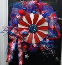 Happy 4th of July Deco Mesh Wreath Flower Power by MaddysonsLane, $125.00