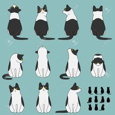Illustration about Set of cute cat sitting poses. Illustration of sitting, background, illustrations - 69508025 Cat Reference, Drawing Reference Poses, Drawing Poses, Drawing Ideas, Sitting Pose Reference, Photo Reference, Sitting Poses, Cat Sitting, Draw Cats