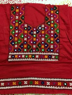 Pin by Anita Kadam on kutch work Hand Embroidery Dress, Embroidery Neck Designs, Embroidery Works, Indian Embroidery, Hand Embroidery Stitches, Embroidery Techniques, Embroidery Patterns, Sewing Patterns, Kutch Work Designs