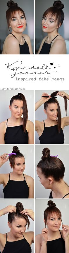 Tutorial for Kendall Jenner's fake bangs now live at http://www.lily.fi/blogit/nude/tutorial-kendall-jennerin-feikki-otsis-tutorial-kendall-jenners-fake-bangs  Also in English ;)