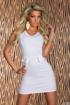 Stretch μίνι φόρεμα με διακοσμητικές τσέπες-Άσπρο