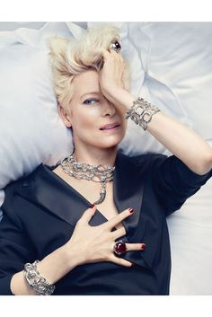 "Pomellato jewelry Dec 2012: Tilda Swinton presents the new silver jewelry ""Pomellato 67"". The 52-year-old is the face of the house. Photoshoot By: Sølve Sundsbø"