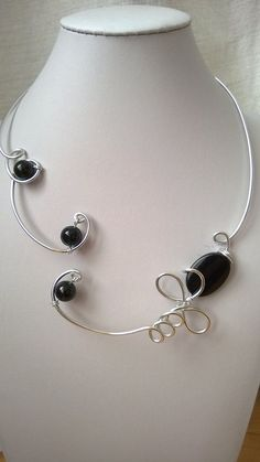 BLACK NECKLACE Wire necklace Wire jewelry Open collar