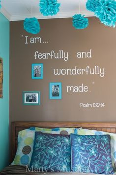 This creative DIY project from Marty's Musings contains an Inspirational Scripture Wall designed for a teenage girls room to encourage self worth, value, family strength and faith. This creative project uses a diecutting machine and vinyl to personalize any wall.