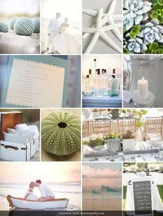 This. Blues, Greens, and Silvery tones. Mason jars. Dogwood flowers. Seashells.....so my color pallet!