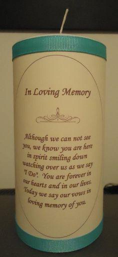 In loving memory wedding candle    Keywords: #weddingcandles #jevelweddingplanning Follow Us: www.jevelweddingplanning.com  www.facebook.com/jevelweddingplanning/