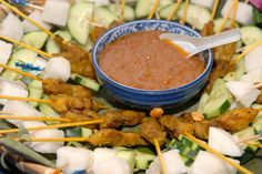 Get the recipe to this classic dish of marinated dice-sized meat on skewers. | #Meat #Skewers