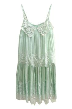 ROMWE | Lace Trimming Pleated Mint Green Dress, The Latest Street Fashion #ROMWEROCOCO
