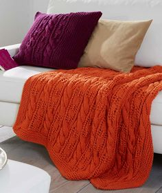 Afghan And Pillow Cover - Free Knitted Pattern - (us.schachenmayr)