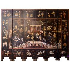 A Large, Six-Panelled Qing Dynasty Lacquer Screen | From a unique collection of antique and modern screens at http://www.1stdibs.com/furniture/more-furniture-collectibles/screens/