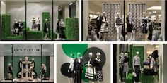 Trimming the Hedges:A sculptured hedge maze appears in windows at Ann Taylor's 52nd Street and 3rd Avenue store. Fabricated by Supercreator LLC, the hedges add an air of romance with an in-the-garden theme. View Image Details