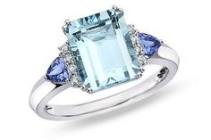 3 3/8 Carat Aquamarine, Tanzanite and Diamond 14K White Gold Ring     Love the pairing of aquamarine and tanzanite