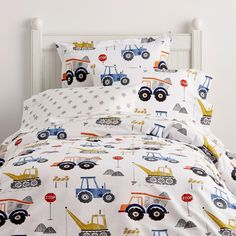 Company Kids by The Company Store Construction Zone Cotton Percale Multi Twin Duvet Cover - The Home Depot Boy Toddler Bedroom, Toddler Rooms, Kids Bedroom, Toddler Boy Room Ideas, Bedroom Desk, Little Boy Bedroom Ideas, Little Boys Rooms, Boy Bedrooms, Full Duvet Cover