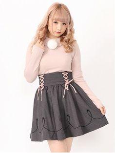 Ank Rouge(アンクルージュ)通販 |レースアップライン刺繍ハイウエストスカート