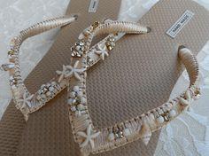 Champagne y oro Playa Flip Flops / chanclas estilo bohemio