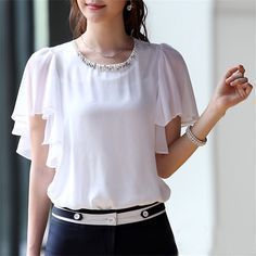 KRBN Brand Women Tops Chiffon Blouse Summer Women Clothing 2016 Ladies Blouses Casual Short Sleeve Plus Size White Girl's Shirts - ladies long sleeve shirts blouses latest ladies blouse light grey blouse ad Indian Blouse Designs, Top Chic, Designs For Dresses, Fashion Designer, Blouses For Women, Ladies Blouses, Ladies Dress Design, Chiffon Tops, Ideias Fashion