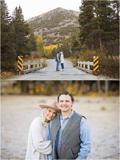 Fall Engagement Session - Outdoor - Red Lodge - Autumn - Gold Trees - Montana - Mountains - Engaged Couple - Fiancé - Man - Woman - Grass - Trees - Kissing - Bridge - Jeans - Jeggings - Pink Rancher Hat - White Boots - White Sweater - Blue Denim Shirt - Carhartt Vest - Montana Wedding Photographer - Sara Nagel Photography