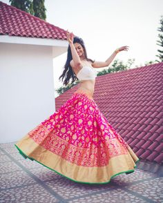 Latest Collection of Lehenga Choli Designs in the gallery. Lehenga Designs from India's Top Online Shopping Sites. Pink Lehenga, Bridal Lehenga, Banarasi Lehenga, Bollywood Lehenga, Brocade Lehenga, Wedding Sarees, Bollywood Style, Silk Sarees, Lehenga Designs