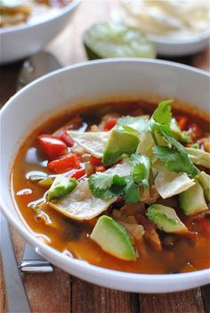The Pioneer Womans Chicken Tortilla Soup----Very flavorful. Make sure to start the soup a couple hours before serving. Its not a labor intensive soup, but it does require that you go back every thirty minutes or so and add something, lower the heat, or give it a stir.