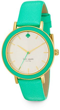Kate Spade New York Metro Goldtone Stainless Steel Saffiano Leather Strap Watch/Green.