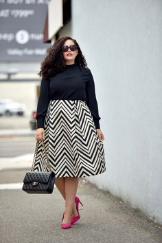 Chevron Stripe Skirt, Pink Pumps, Chanel Maxi
